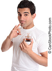Man recommending promoting a perfume