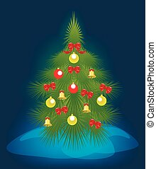 Christmas tree on a blue background. EPS10 vector illustration