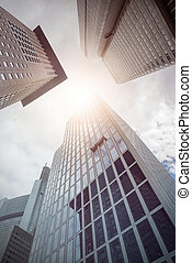 office buildings from below - several office buildings seen...