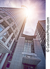 office skyskraper in the sun - office buildings in the sun,...