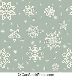 Retro Christmas pattern with white snowflakes on blue background