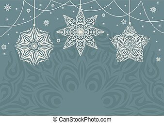Retro Christmas background with white snowflakes on blue background.