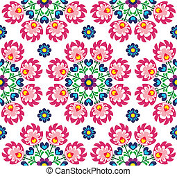 Seamless floral Polish folk art pat - Repetitive cutout...