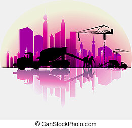 earth mover in a construction site - Illustration of earth...
