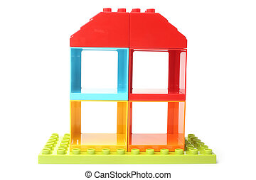 Colorful toy house on white background