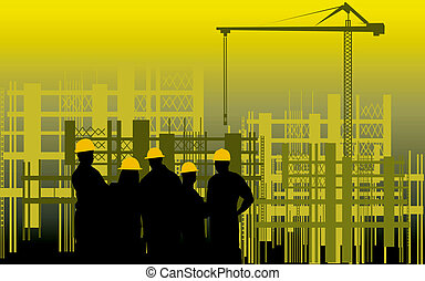 construction site - Illustration of silhouette of group of...