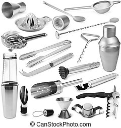 Set of barman equipment on white background