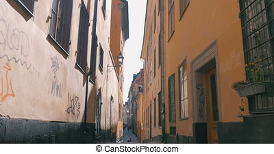 Empty Narrow Street in Stockholm, Sweden - Steadicam shot of...
