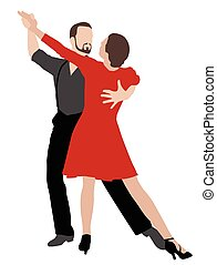 tango dancers illustration - vector