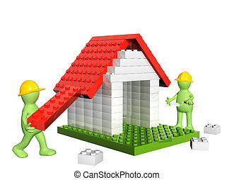 Two builders and house from 3d plastic toy blocks