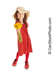 Girl with a bouquet of flowers