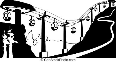 Gondola lift with stations - vector illustration
