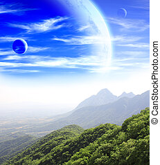Fantastic landscape with planet, mountains and jingle