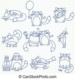 Set of funny cats
