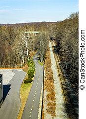 Bikeway and train tracks - Train tracks and Blackstone River...
