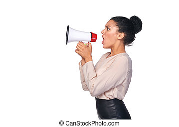 Woman hold loudspeaker - Business, communication,...