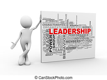 3d man standing with leadership wordcloud word tags