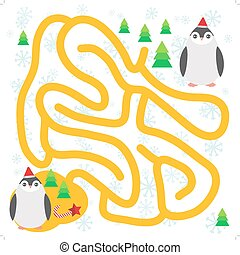 Funny penguins in the red hat, snowflakes and gifts, christmas winter labyrinth game for Preschool Children on white background. Vector