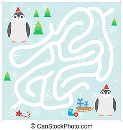 Funny penguins in the red hat, snowflakes and gifts, christmas winter labyrinth game for Preschool Children on blue background. Vector