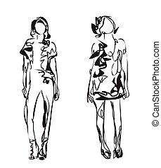 Fashion models. Sketch. - Fashion models. Hand drawn sketch...