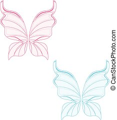 Blue and pink fairy wings - Vector illustration set of two...