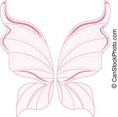 Pink fairy wings - Vector illustration pink transparent...