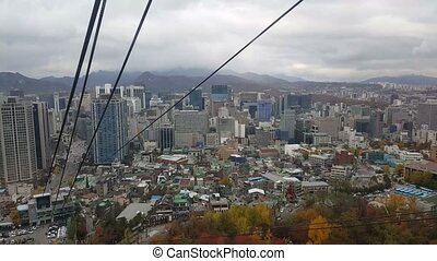 Aerial View of City of Seoul, South Korea in a Cable Car