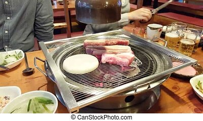 Korean barbecue. Typical celebration on Korea at any...