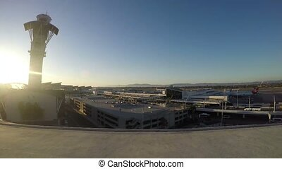 Airplanes parking at LAX airport in California, USA