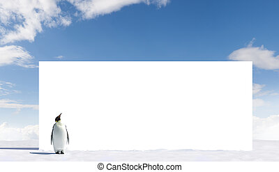 Billboard - Emperor Penguin looking at a billboard