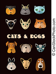 Cats and dogs icon set Vector format - Big set of icons of...
