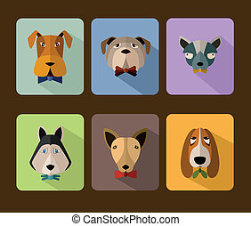 Dogs avatar icon set - Big set of icons of dogs with...