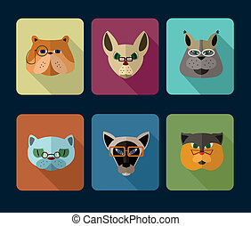 Cats avatar icon set - Big set of icons of cats with...