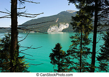 Wolfgangsee in Austria - The clear and turquise water in the...
