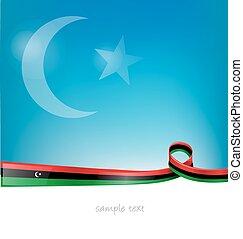 libya flag on sky  background
