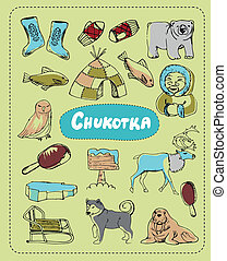 Set of tourist attractions Chukotka. - Tourist attractions...