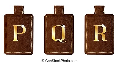 Alphabet Keyring and Fob PQR - A brown leather key fob and...