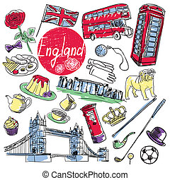 Set of tourist attractions England. - Tourist attractions of...