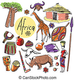 Set of tourist attractions Africa. - Tourist attractions of...