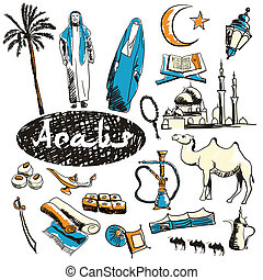 Set of tourist attractions Arabs. - Tourist attractions of...