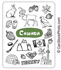 Set of tourist attractions Canada. - Deer, yurt, mountains...