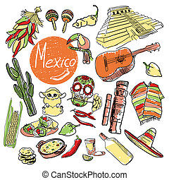 Set of tourist attractions Mexico. - Cactus, tequila,...