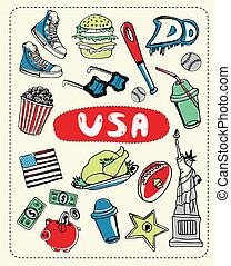 Tourist attractions USA. - Freedom, burger, baseball and...