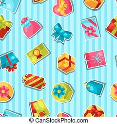 Seamless celebration pattern with colorful sticker gift...