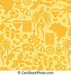 Brazil seamless pattern with stylized objects and cultural...