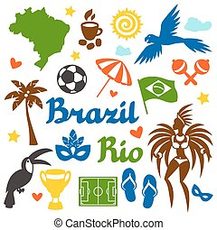 Collection of Brazil stylized objects and cultural symbols