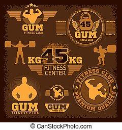 Fitness bodybuilding vintage label for flayer poster logo...
