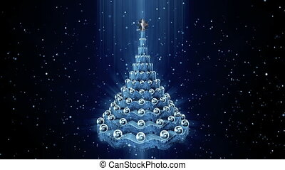 Christmas tree animation. - Rotating christmas tree at snow...