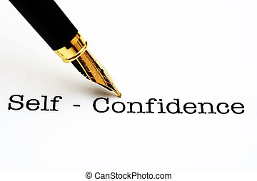 Self confidence text and fountain pen
