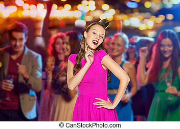 happy young woman or teen girl in pink dress - people,...